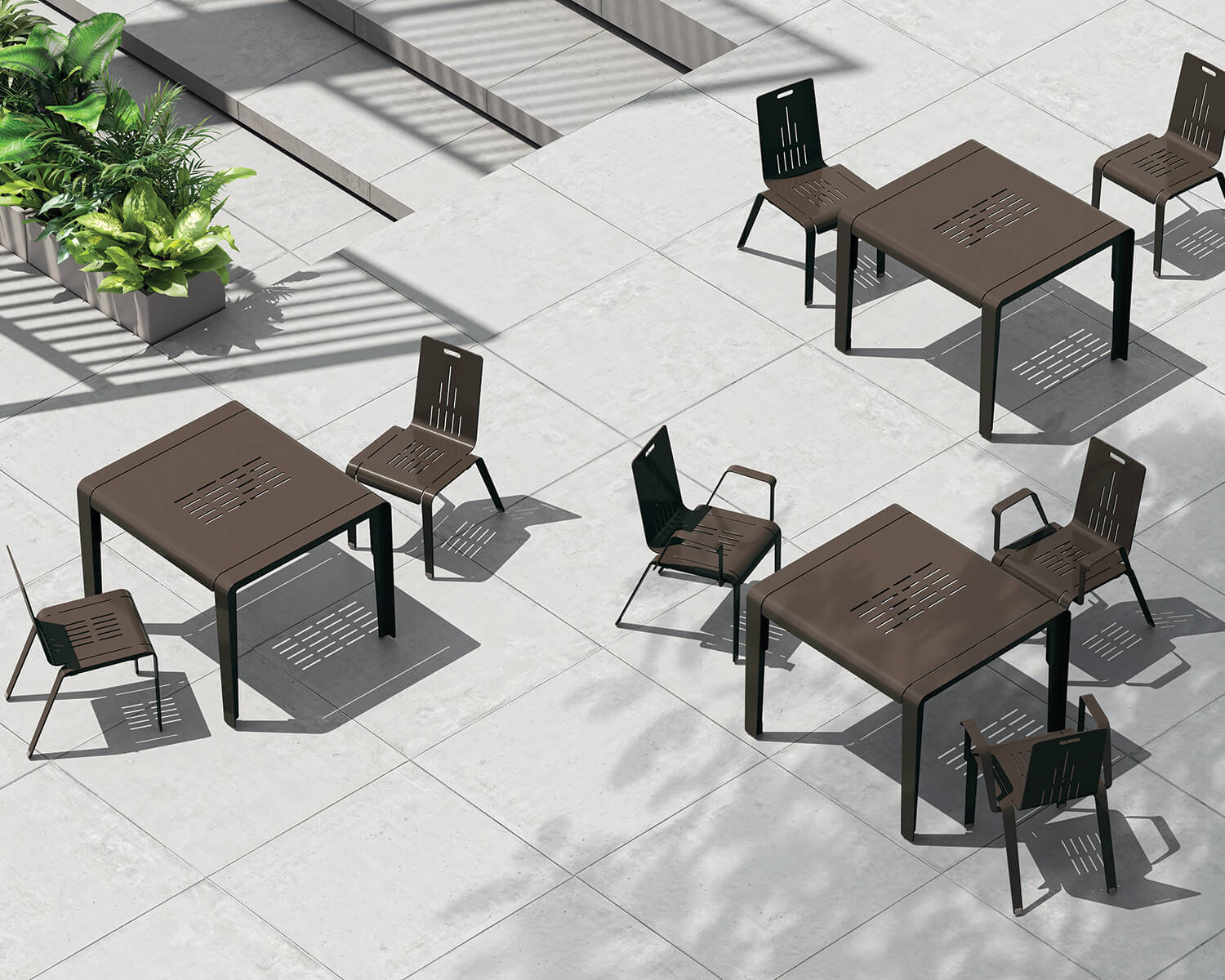 View of brown ALUM tables and chairs from above
