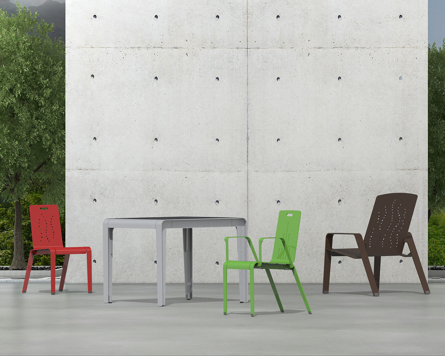 Red, green and brown ALUM chairs and a silver ALUM table in front of a concrete wall