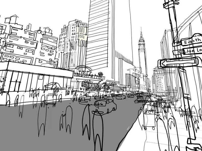 Black white sketch of a street