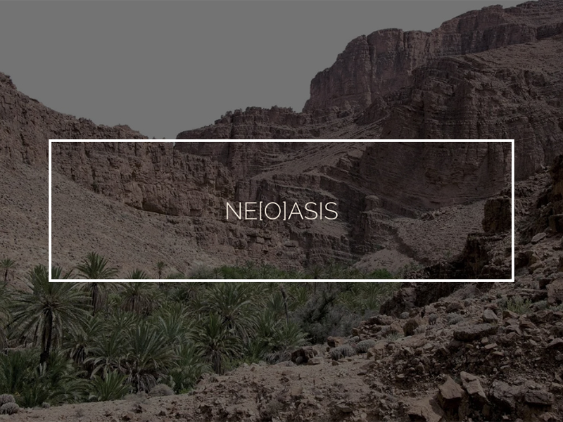 Desert hills with text overlay that reads Ne(o)asis
