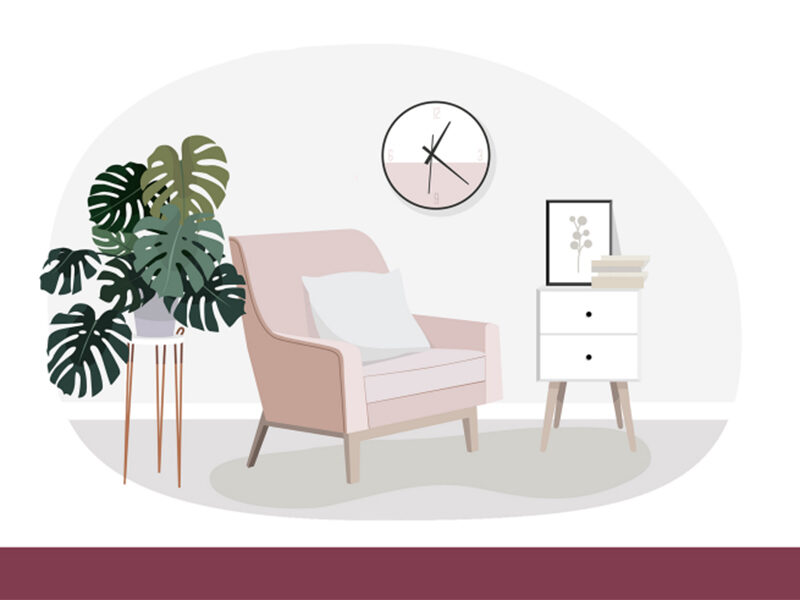 Cartoon drawing of a pink lounge chair, Monstera plant, white bedside table and a pink clock
