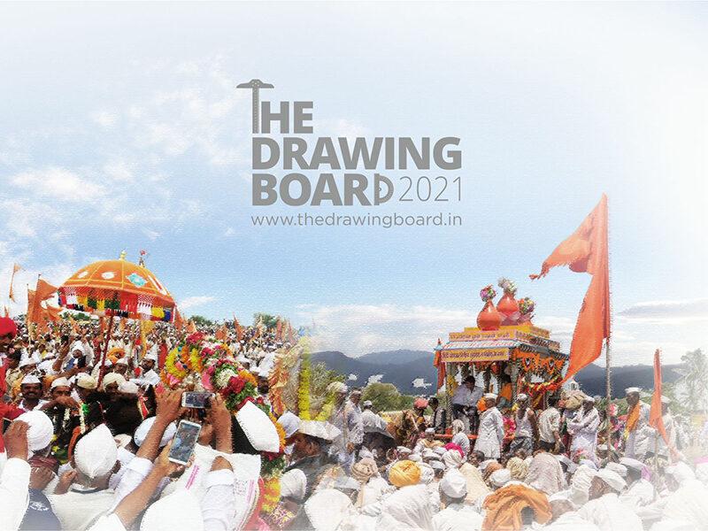 Drawing of people taking part in the Wari pilgrimage