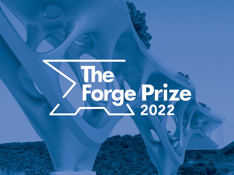 The Forge Prize 2022 in white text on blue background with a steel bridge