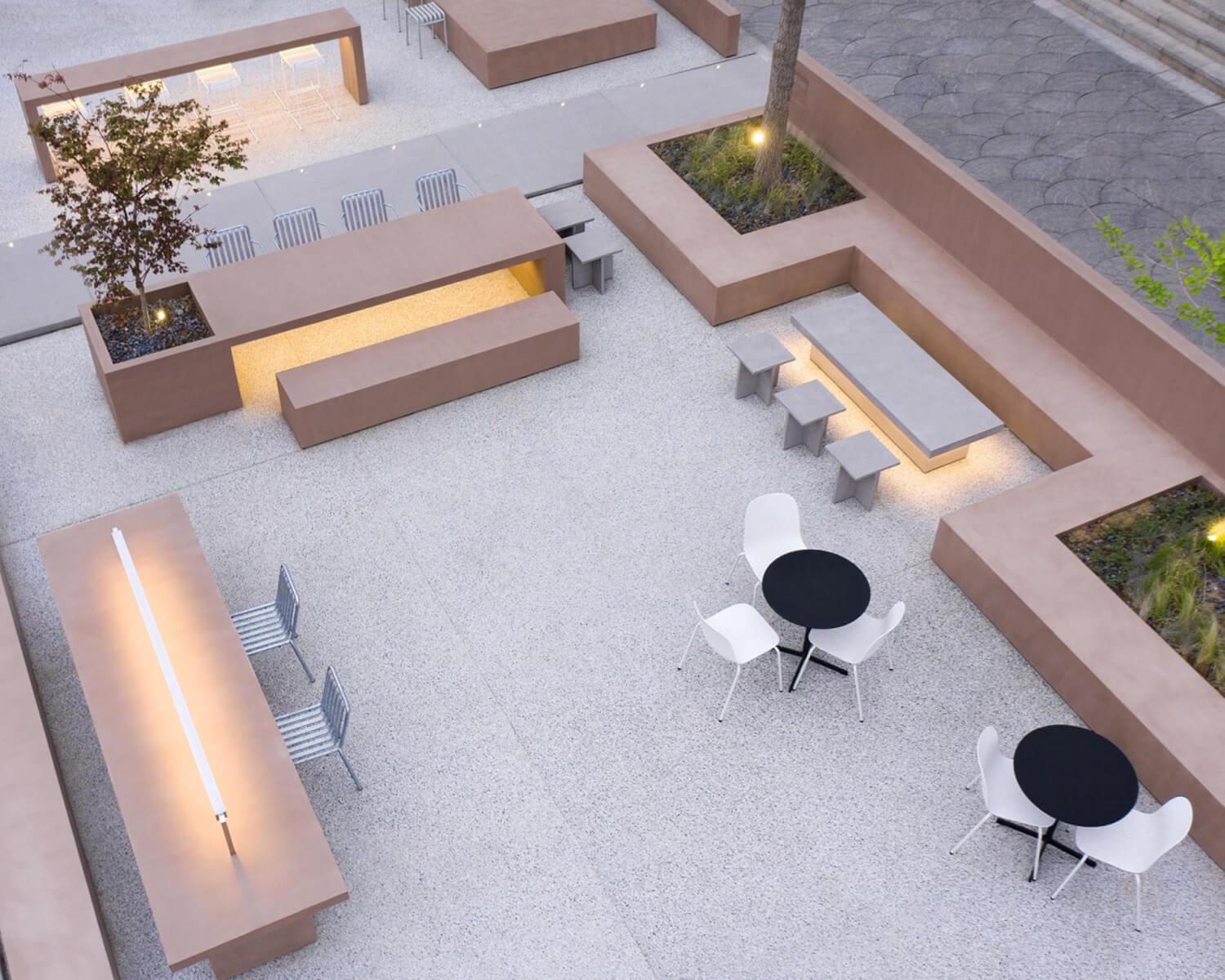 View of the outdoor seating area from above