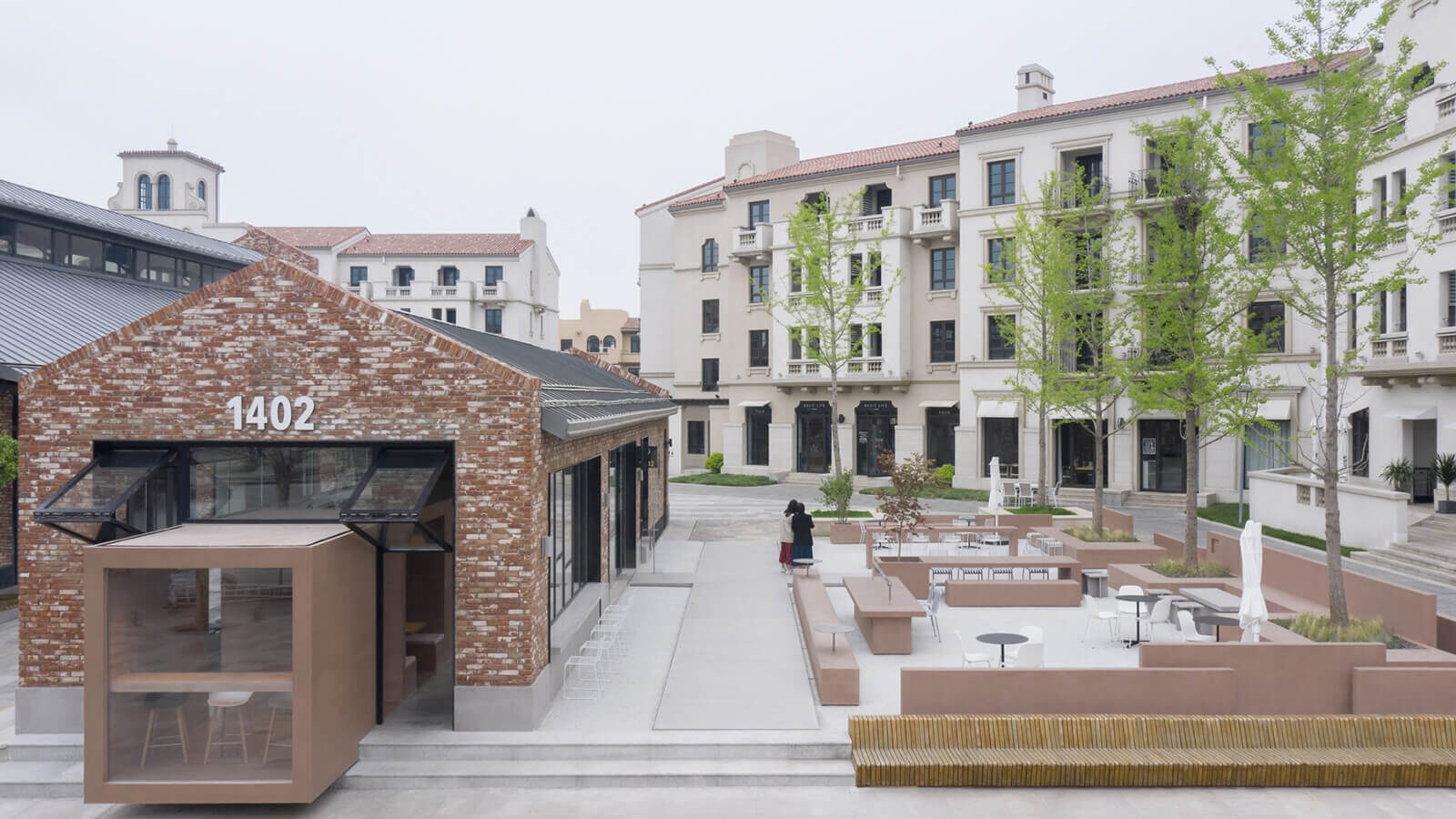 Exterior view of the building and the outdoor seating area