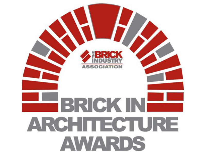 Red brick arch illustration. Text underneath reads: Brick in Architecture Awards