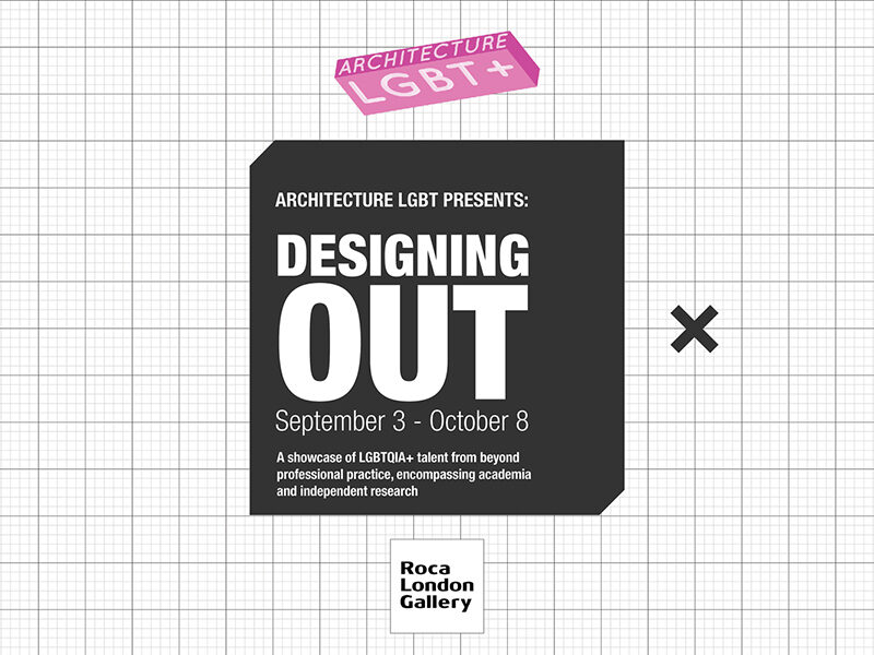 White grid background. Text in black box reads: Designing Out.