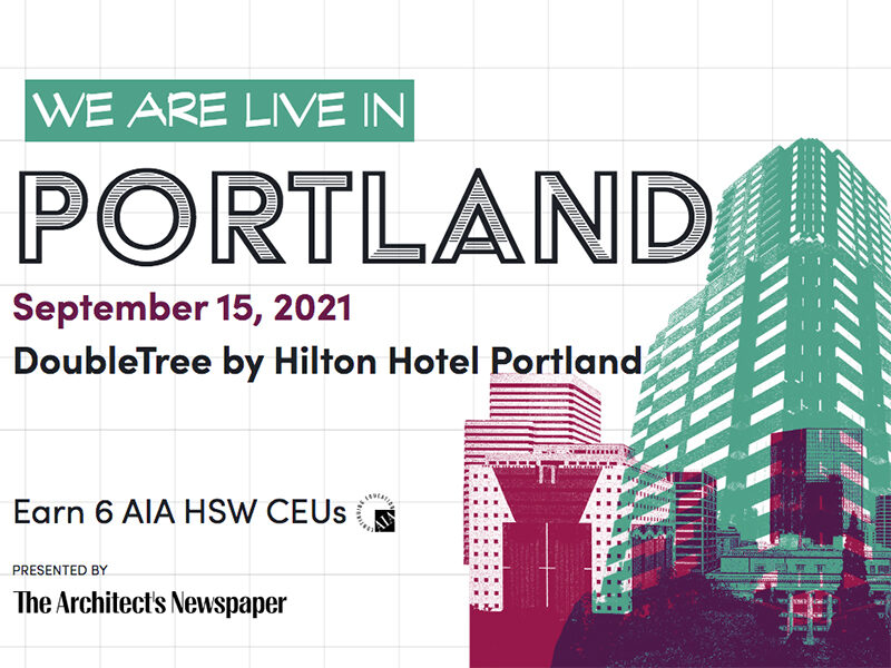 Green and pink drawing of a building. Text reads: We are live in Portland