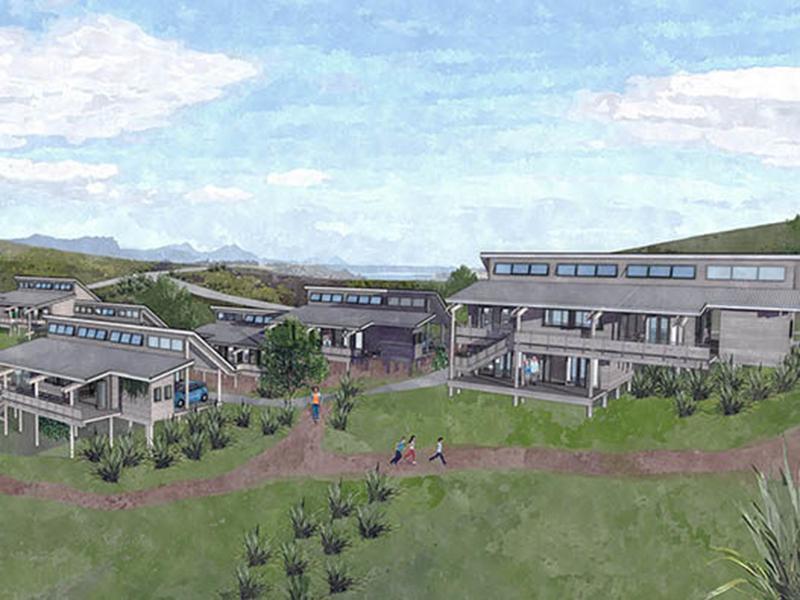 Illustration of grey houses