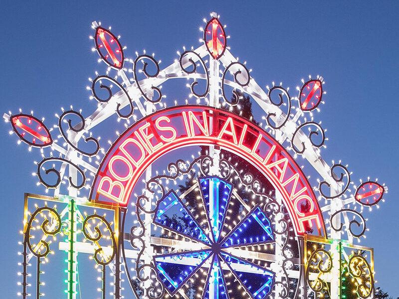 Neon installation that reads: Bodies in Alliance