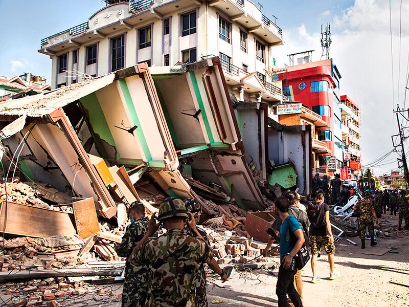 Collapsed building during the 2015 Nepal earthquake