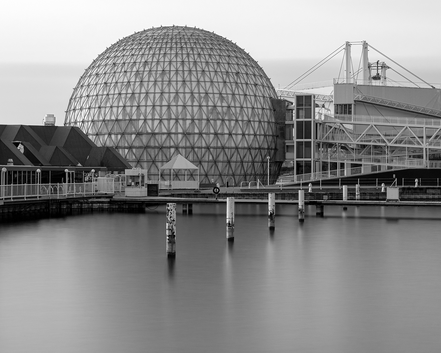 Black and white image of Ontario Place's Cinesphere