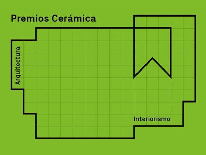 Black line drawing on green background. Text reads: Premios Ceramica
