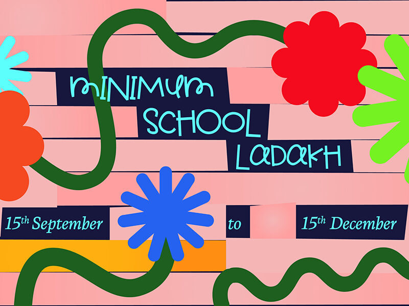 Pink background with colourful cartoon flowers. Text reads: Minimum School Ladakh