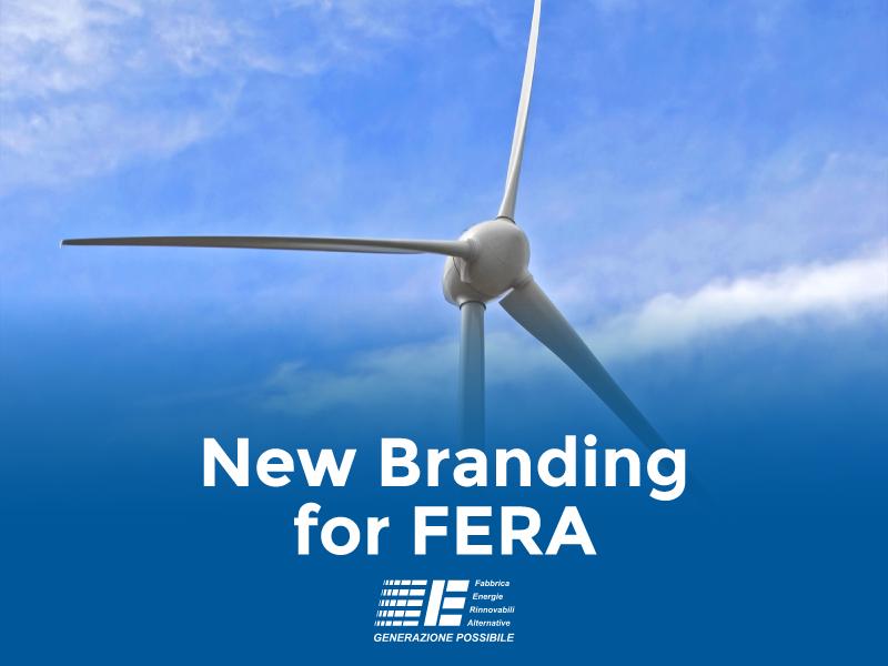 Wind turbine. Text reads: New Branding for FERA.