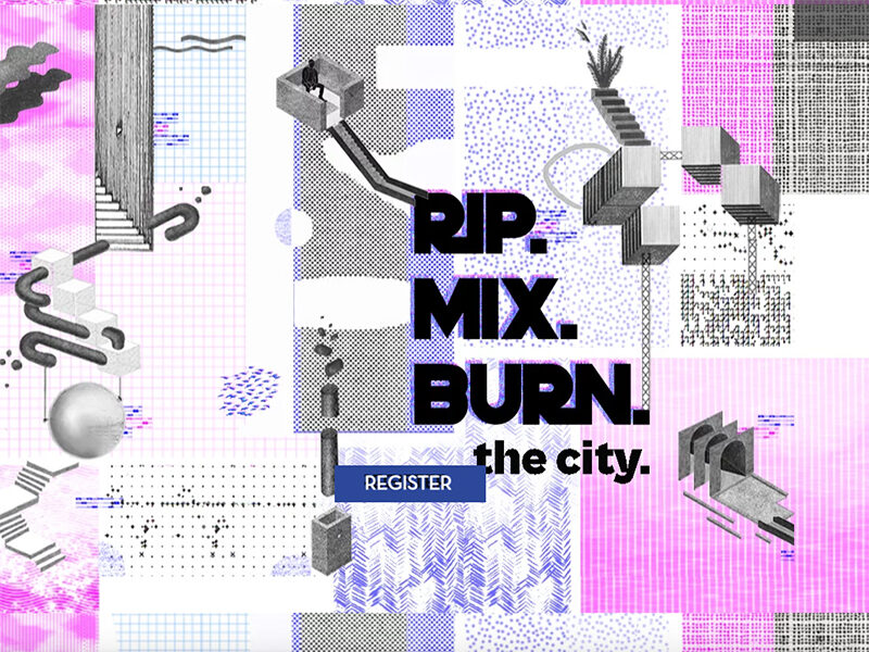 Pink, purple and grey drawing. Text reads: RIP. MIX. BURN. the city