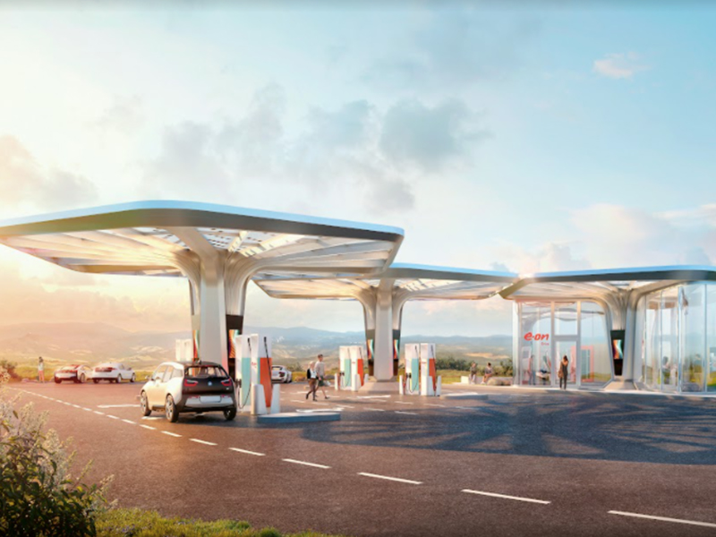 E.ON Ultra-Fast Charging Centre. Design guideline, first implementation by GRAFT for E.ON across Germany, United Kingdom, Czech Republic, Slovakia, Hungary, Sweden, Denmark and Norway.